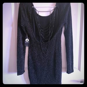Dress, silver/black open back with chain detail